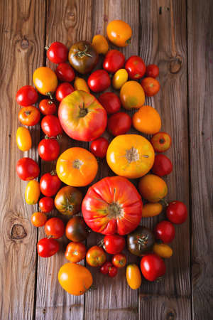 loosely: Tomatoes of different varieties. Colorful tomatoes Tomatoes background. Fresh tomatoes Healthy food concept. Colorful festive still life. Loosely laid tomatoes in different positions.