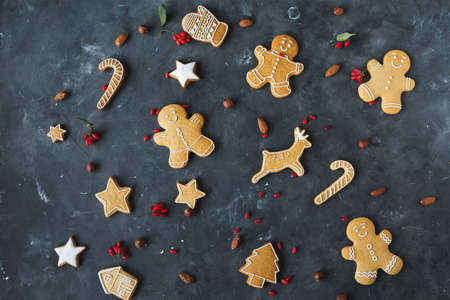 Gingerbread  cookies on a gray background.  Christmas cookies.
