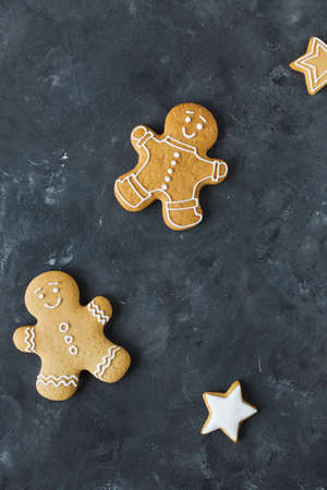 Gingerbread  cookies on a gray background.  Christmas cookies.  Ginger men