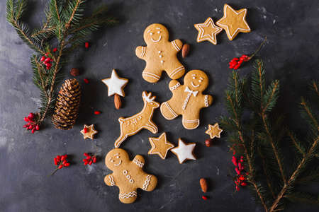 Gingerbread  cookies on a gray background.  Christmas cookies.  Ginger men Stock Photo - 88309729