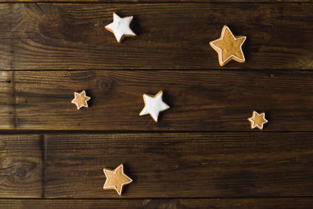 Christmas cookies  on a wooden background. Gingerbread.