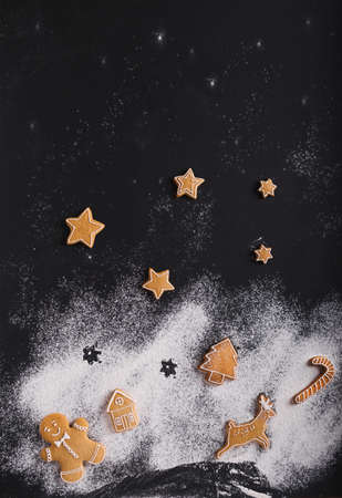Gingerbread. Christmas cookies on a black background.
