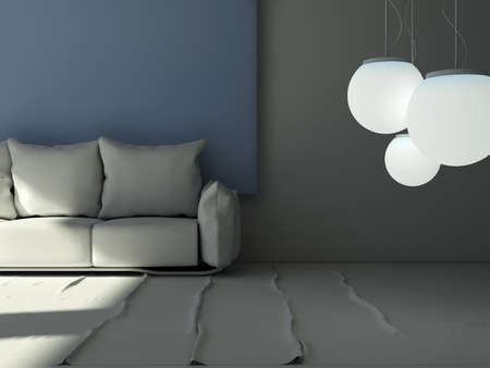 front room: 3D  living room pillow sofa in front of a big blue frame picture with hanging lights in front