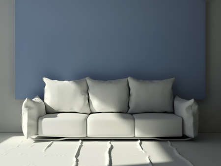 front room: 3D daylight  living room pillow sofa in front of a big blue frame