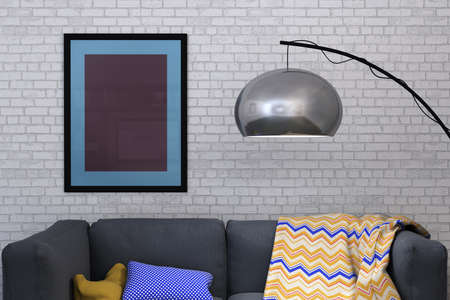 3D rendered image of a framed picture against white painted brick wall of a domestic room home interior photo