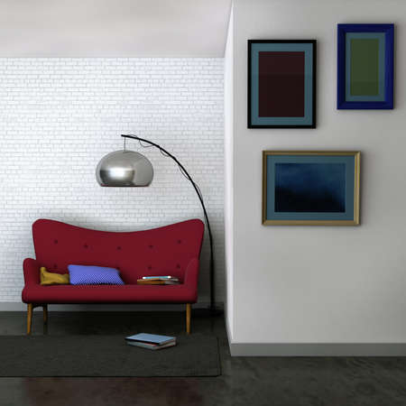 Computer generated image of a living room interior with simple modern velvet sofa and lamp in the back, and small living room gallery with three blank framed pictures hanged on a front wall