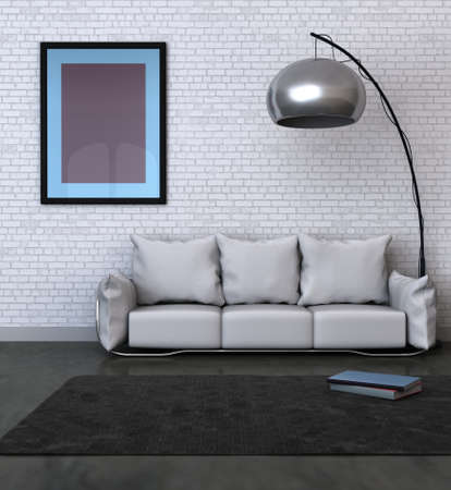 3D rendered image of a home interior with blank frame photo