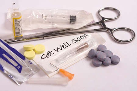Medical supplies and get well message photo
