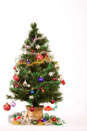 Decorated Christmas tree with a white star on top Stock Photo - 3637880