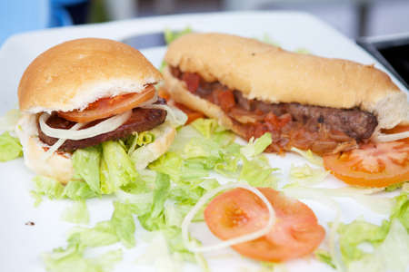 Carne de hamburguesas y perros calientes en un plato blanco con guarnici�n photo