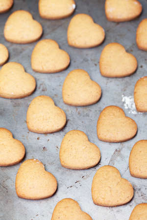 Home made heart shaped cookies on metal baking tray photo