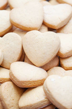 Valentine's day themed heart shaped shortbread cookies photo