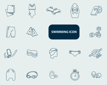 synchronized: Set of swimming icons