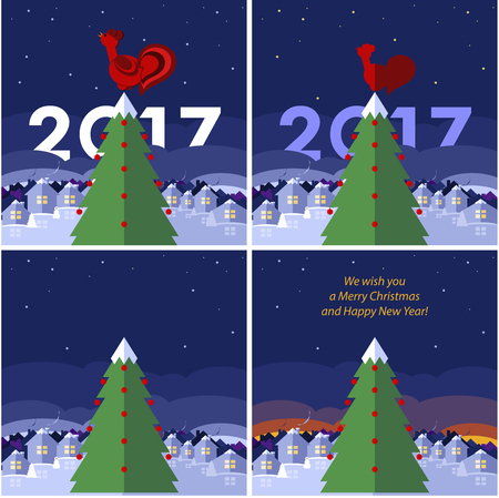 desember: Set of New Year cards