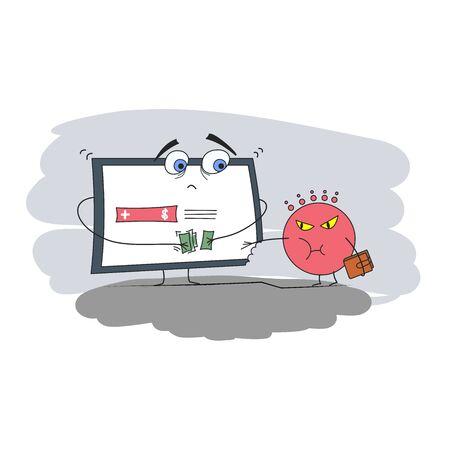 intimidation: Computer virus and  illustration  humor