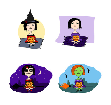 jack o  lanterns: Cute witch witch on Halloween