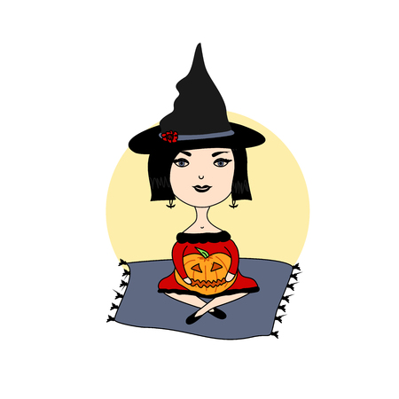 flying hat: Illustration of a witch on Halloween Illustration