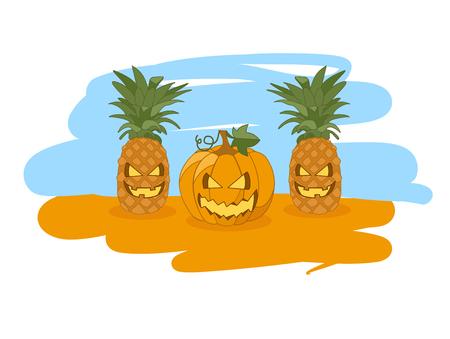 Illustration for Halloween, pineapple and pumpkin Illustration