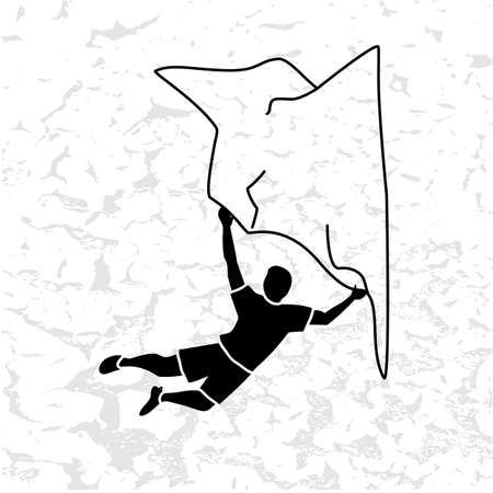 Silhouette of a climber. Rock climbing badge. Men doing extreme sport, adrenaline activity of strong men. Climber without a rope. Vecteurs