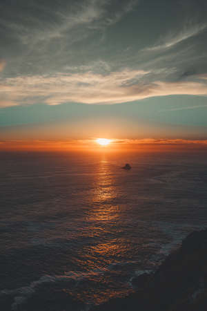 Massive sunset over the ocean from the cliffs Archivio Fotografico