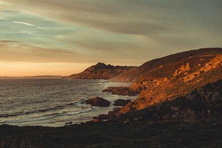 The wild spanish coast during the sunset Stock fotó