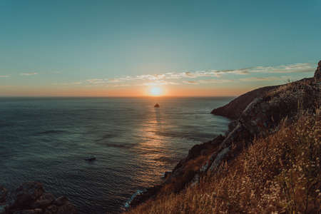 The sunset from the cliffs on the spanish coast