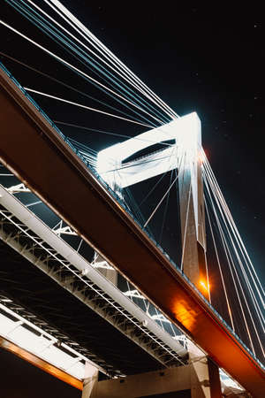 Close up of one column of a bridge during the night Stock fotó