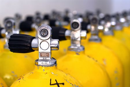 Row of dive tanks with large depth of field photo