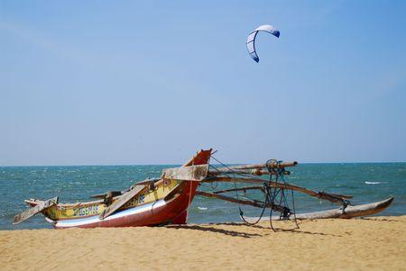 srilanka: Catamaran on Sri Lankan tropical beach Stock Photo