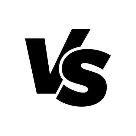 VS versus letters vector icon isolated on white background. VS versus symbol for confrontation or opposition design concept
