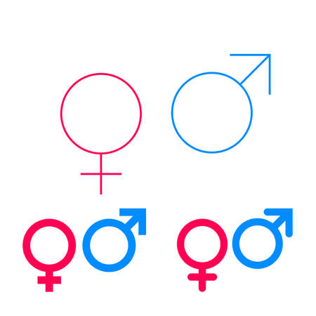 Male and female vector isolated gender symbols set on white background. Mars and Venus pink and blue pictograms.