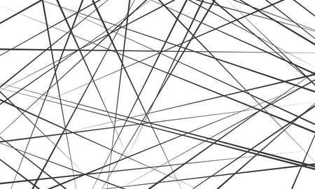 Chaotic abstract lines abstract geometric pattern background. Vector black diagonal crossed lines for modern contemporary art backdrop white design template Stock fotó - 97654042