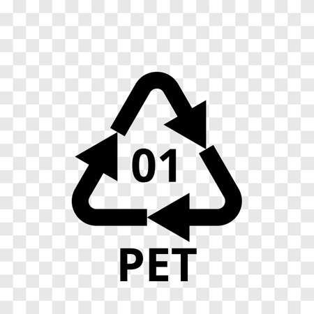 PET recycling code arrow icon for plastic polyester fiber and soft drink bottles.