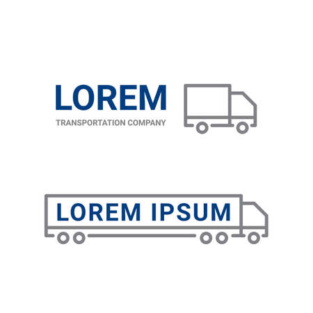Transportation logo icon of line truck car. Logistics and delivery simple icon. Vector truck symbol for cargo shipment company Stock Illustratie