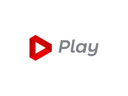 Speel logo pictogram voor muziek en tv digitale audio of video film speler ontwerp. Vector spelen driehoek rode platte muziek of audio- en video-interface pijl en web multimedia applicatie pictogrammalplaatje