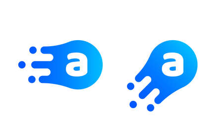 Letter A logo template of abstract liquid bubble shape for modern company. Vector creative Z logo in motion speed simple futuristic icon design for internet communication technology or application