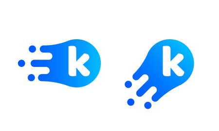 Letter K template of abstract liquid bubble shape for modern company.