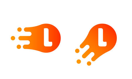 Letter L logo template of abstract liquid bubble shape for modern company. Vector creative Z logo in motion speed simple futuristic icon design for internet communication technology or application Ilustração