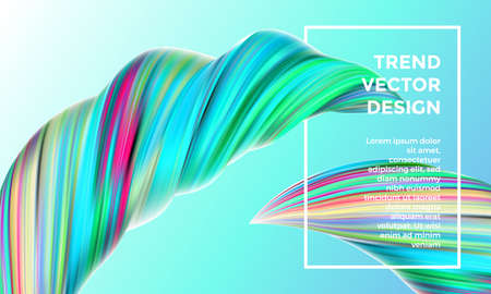 Vector digital painting abstract background. Creative vivid 3d flow paint wave. Trendy blue green liquid banner template with bright gradient paint on green background.