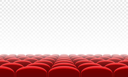 Movie citema seat hall interior. Vector theatre red seat chair in conference auditorium room. Row cinema red seat illustration on transparent white background Stock Illustratie