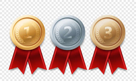 Gold, silver, bronze champion medal set. Vector metal award trophy achievement with red ribbon isolated on transparent background.