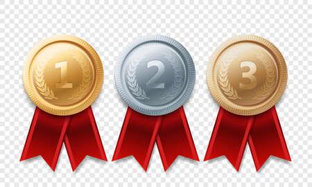 Gouden, zilveren, bronzen kampioensmedaille. Vector metalen trofee prestatie met rood lint geïsoleerd op transparante achtergrond.