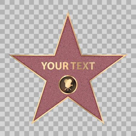 Hollywood star on celebrity fame of walk boukevard. Vector symbol star for iconic movie actor or famous actress template. Gold hollywood star with camera sign on transparent background Vettoriali