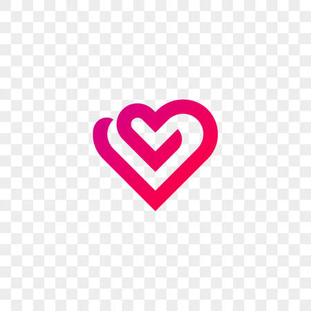 Heart logo vector icon. Isolated modern heart symbol for cardiology medical center or charity.