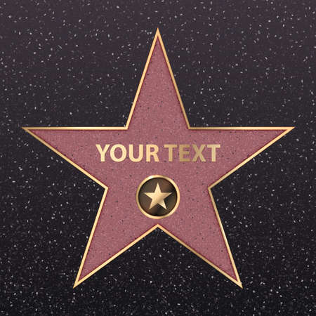Vector symbol star for iconic movie actor or famous actress template. Gold star with camera sign on black floor background with texture