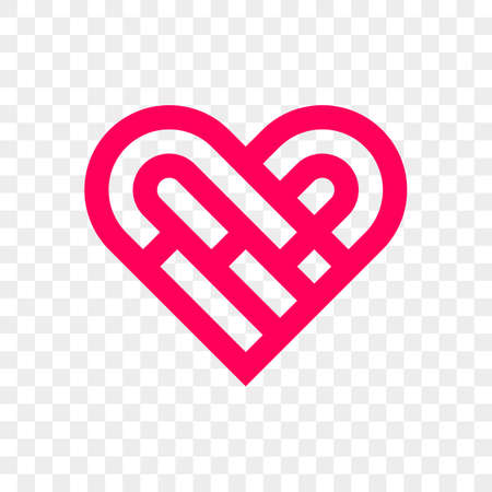 Heart logo vector icon. Isolated modern maze heart symbol.