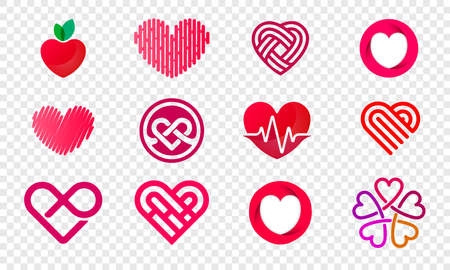 Heart logos set abstract design for healthy food and diet or vegetarian nutrition supplement and vitamins.