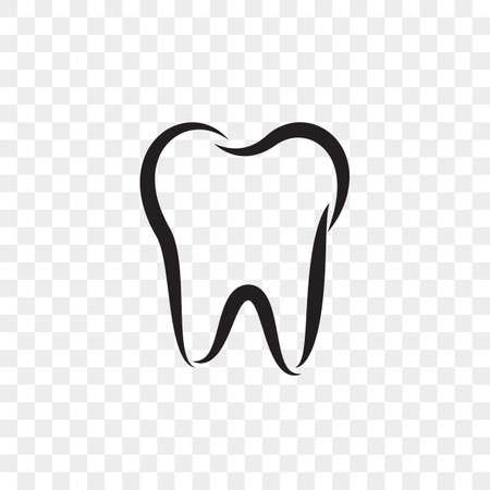 Tooth logo icon for dentist or stomatology dental care design template. Vector isolated black outline.