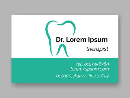 Dental tooth logo icon for dentist business card. Vector stomatology dental care design template of tooth symbol for dentistry clinic or dentist therapist medical center