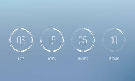 Vector countdown circle clock counter timer. Vector digital count down circle board with circle time pie diagram. Illustration